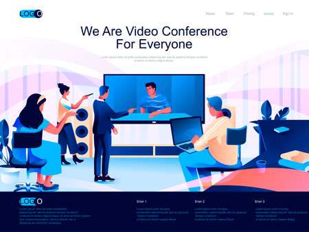 We are Video Conference for everyone isometric landing page. Internet communication isometry website page. Colleagues discussing project online web concept, vector illustration with people characters.