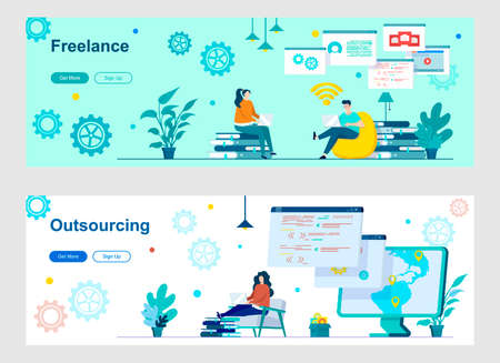 Freelance and outsourcing landing page with people characters. Remote workforce, freelancers recruiting web banners. Outsourcing software development vector illustration great for social media cover. Illustration