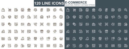 E-commerce thin line icons set. Online shopping, internet marketplace unique design icons. Customer support, order and delivery service outline vector bundle. 48x48 pixel perfect linear pictogram pack