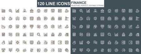 Finance thin line icons set. Online banking, capital investment unique design icons. Financial deposit, payment and exchange currency outline vector bundle. 48x48 pixel perfect linear pictogram pack.