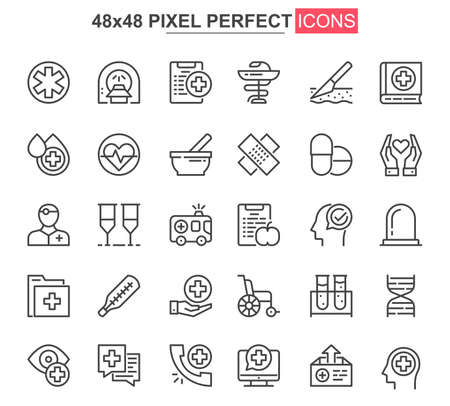Medical service thin line icon set. Online consultation outline pictograms for website and mobile app GUI. Diagnosis and treatment simple UI, UX vector icons. 48x48 pixel perfect pictogram pack.