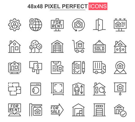 Real estate thin line icon set. Real estate agency outline pictograms for website and mobile app GUI. Building sale and rent simple UI, UX vector icons. 48x48 pixel perfect pictogram pack. Ilustração