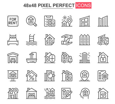 Real estate thin line icons set. Commercial and residential building, mortgage and rent services unique icons. Real estate agency outline vector bundle. 48x48 pixel perfect linear pictogram pack.
