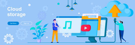 Cloud storage landing page with people characters. Hosting provider, cloud database web banner. Data storage service vector illustration. Flat concept great for social media promotional materials.