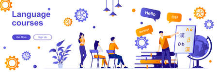 Language courses landing page with people characters. Teaching service web banner. E-learning platform, distance education vector illustration. Flat concept great for social media promotional material