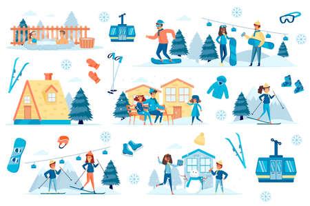 Mountain ski resort isolated set vector illustration. Vetores
