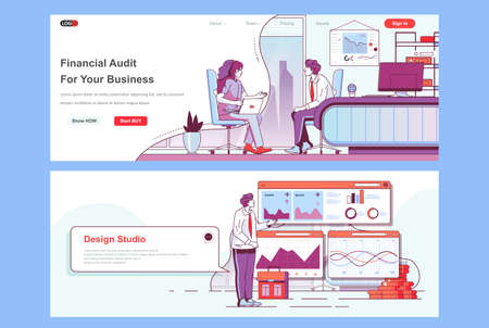 Financial audit landing pages set. Business assistance and consulting corporate website. Flat line vector illustration with people characters. Web concept use as header, footer or middle content.