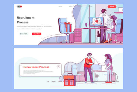 Recruitment process landing pages. HR managers, staff headhunting agency corporate website. Flat line vector illustration with people characters. Web concept use as header, footer or middle content.