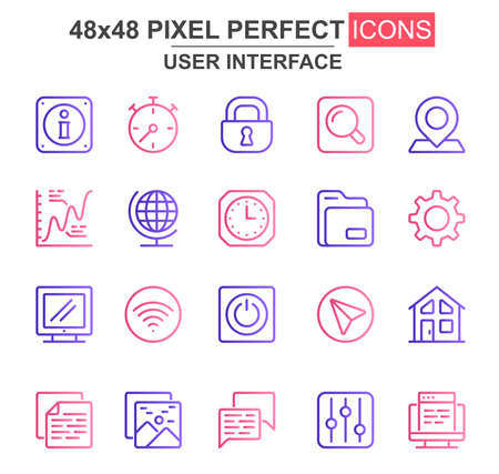 User interface thin line icon set. Pinpointer, lock, gear, email, magnifier, chart, clock, wifi, search unique icons. Outline vector bundle for UI UX design. 48x48 pixel perfect linear pictogram pack.