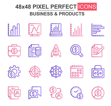 Business and products thin line icon set. Rocket, chart, goal, finance, capital, scheduler, stock index unique icons. Outline vector bundle for UI UX design. 48x48 pixel perfect linear pictogram pack.
