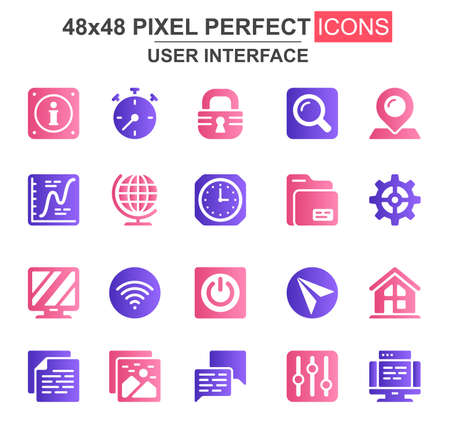 User interface glyph icon set. Pinpointer, lock, gear, email, magnifier, clock, wifi, settings, search, chart unique icons. Flat vector bundle for UI UX design. 48x48 pixel perfect GUI pictograms pack
