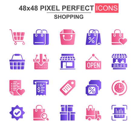 Shopping glyph icon set. Supermarket basket, trolley, open sign, store, discount label, bill, bags, delivery unique icons. Flat vector bundle for UI UX design. 48x48 pixel perfect GUI pictograms pack. Vecteurs