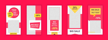 Big sale editable templates set for media social stories. Offering sales discounts only today, marketplace promo. 向量圖像