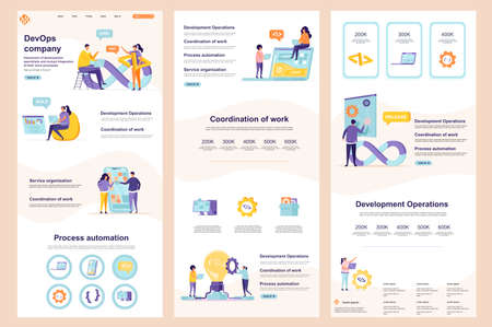 DevOps company flat landing page. Engineering and automation system corporate website design. Web banner template with header, middle content and footer. Vector illustration with people characters.