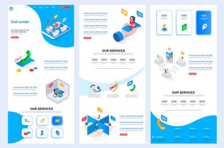 Call center isometric landing page. Online consultation, customer support corporate website design template. Web banner template with header, middle content and footer. Isometry vector illustration.