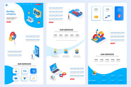 DevOps company isometric landing page. Engineering and automation system corporate website design template. Web banner template with header, middle content and footer. Isometry vector illustration.