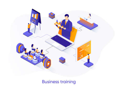 Business training isometric web banner. Business coaching isometry concept. Career growth, skills development 3d scene, motivation and mentoring flat design. Vector illustration with people characters