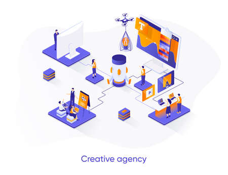 Creative agency isometric web banner. Creative design workshop isometry concept. Product branding 3d scene, creativity and ideas generation flat design. Vector illustration with people characters.