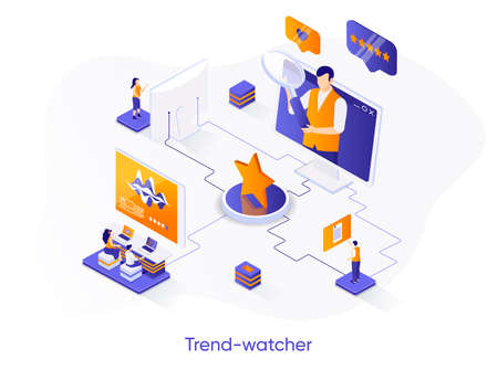 Trend-watcher isometric web banner. Professional trend watching occupation isometry concept. Marketing research and data analysis 3d scene, flat design. Vector illustration with people characters.