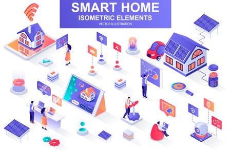 Smart home bundle of isometric elements. Vektorgrafik