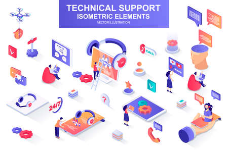 Technical support bundle of isometric elements. Vetores