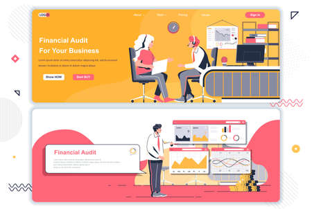 Financial audit landing pages set. Business assistance and consulting corporate website. Flat vector illustration with people characters. Web concept use as header, footer or middle content.
