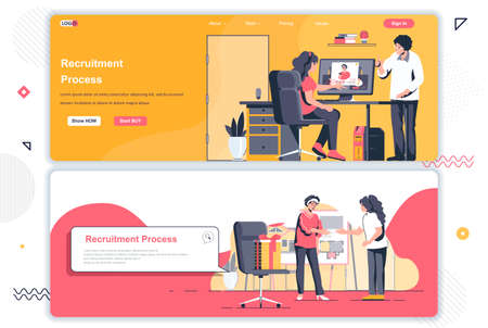 Recruitment process landing pages. HR managers, staff headhunting agency corporate website. Flat vector illustration with people characters. Web concept use as header, footer or middle content.