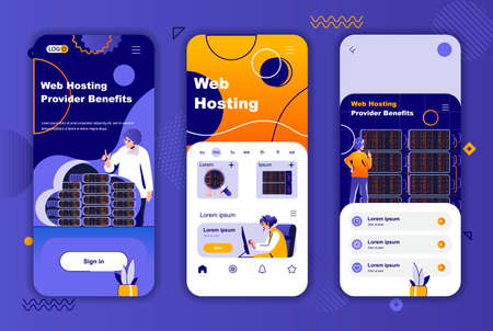 Web hosting provider unique design for social networks stories. Data center, cloud storage service mobile screen templates for app. UI UX layouts vector illustration. GUI set with people characters.