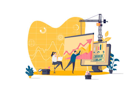 Data analysis concept in flat style. Analyst analyzing growing diagram scene. Financial predictive analytics and forecasting web banner. Vector illustration with people characters in work situation.