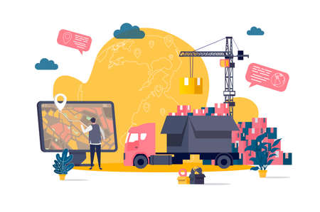 Logistics concept in flat style. Warehouse worker planning route on computer scene. Express delivery service, warehousing and distribution. Vector illustration with people characters in work situation Векторная Иллюстрация