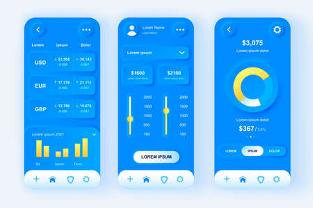 Finance services unique neomorphic design kit. Bank accounts monitoring, budgeting, financial planning and limits settings. UI UX templates set. Vector illustration of GUI for responsive mobile app.