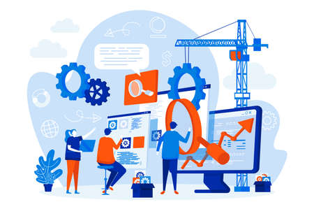 SEO optimization web design with people. SEO team analyzing data scene. Website optimization for relevant searches composition in flat style. Vector illustration for social media promotional materials Vektoros illusztráció