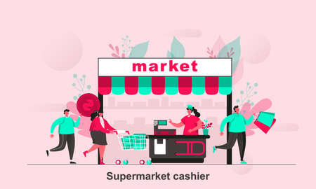 Supermarket cashier web concept in flat style. Supermarket buyers and cashier behind counter with cash register scene visualization. Vector illustration with tiny people characters in life situation. Ilustração