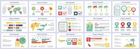Bundle travel vacation infographics presentation slides template. Different charts, diagram, workflow, flowchart, timeline, schemes, graphs design template. Vector info graphic and infographics set. Векторная Иллюстрация