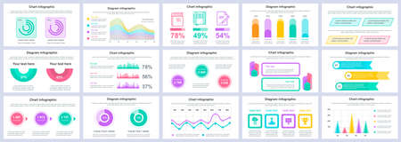 Bundle business and finance infographics presentation slides template. Different charts, diagrams, workflow, flowchart, timeline, schemes design template. Vector info graphic and infographics set.