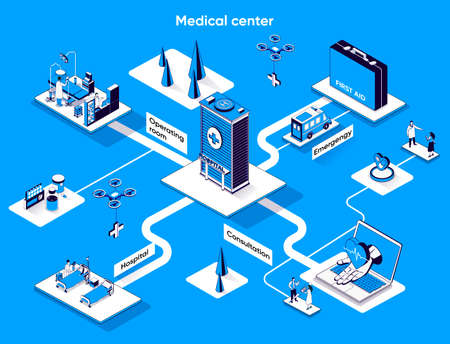 Medical center isometric web banner. Doctor consultation and treatment flat isometry concept. Emergency, hospital, operating room 3d scene design. Vector illustration with tiny people characters
