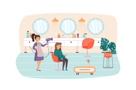 Woman visiting Beauty Salon scene. Hairstylist doing haircut and hairstyle for female client. Cosmetology procedures of hair care concept. Vector illustration of people characters in flat design