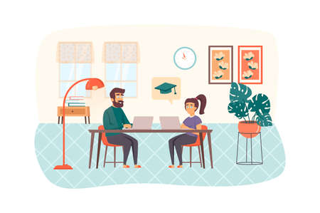 Couple studying using laptop sitting at table in room scene. Man and woman engaged online education. E-learning, distance homeschooling concept. Vector illustration of people characters in flat design