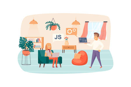 Man and woman works on laptops and testing software scene. Developers analyzing and fixing bugs in program code. IT industry, teamwork concept. Vector illustration of people characters in flat design