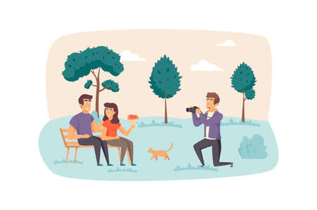 Photographer making photo shooting for couple in park scene. Man and woman posing for art photography. Creative profession, memories concept. Vector illustration of people characters in flat design