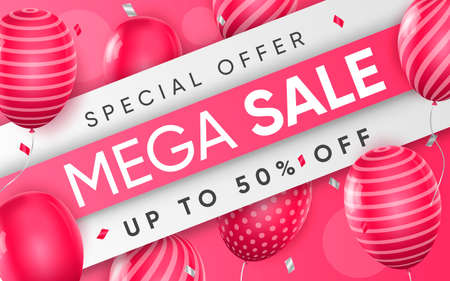 3d poster of Mega Sale up to 50 percent off discount price with pink balloons in realistic design. Special offer for shop website background. Save money. Vector illustration of advertising web banner Vektoros illusztráció