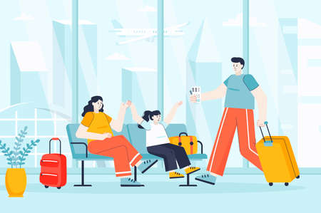 Travel vacation concept in flat design. Family in airport terminal waiting hall scene. Mom, dad and daughter flight on journey together. Vector illustration of people characters for landing page