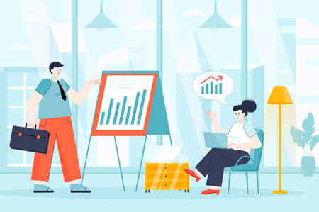 Business meeting concept in flat design. Employees work in office scene. Colleagues analyze company development statistics at presentation. Vector illustration of people characters for landing page Ilustração
