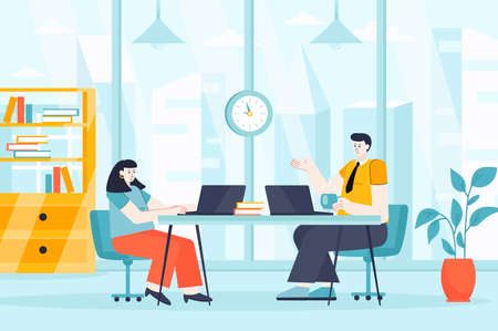 Coworking space concept in flat design. Employees or freelancers work in office scene. Colleagues communicate at business meeting conference. Vector illustration of people characters for landing page