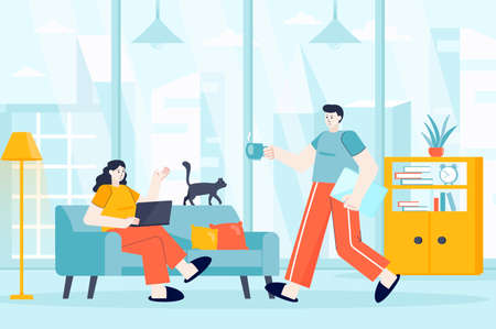 Freelance working concept in flat design. Freelancers work in home office scene. Couple works remotely in comfort condition of their home. Vector illustration of people characters for landing page