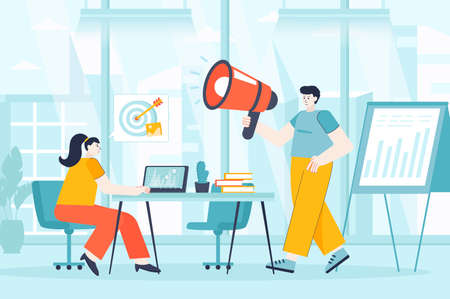 Digital marketing concept in flat design. Marketers team works in office scene. Teamwork to promote business, advertise, attract customers. Vector illustration of people characters for landing page Ilustração