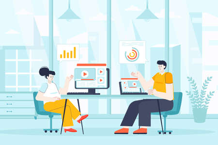 Video marketing concept in flat design. Marketers works in office scene. Colleagues create content, analyze statistics, promotion strategy. Vector illustration of people characters for landing page Ilustração
