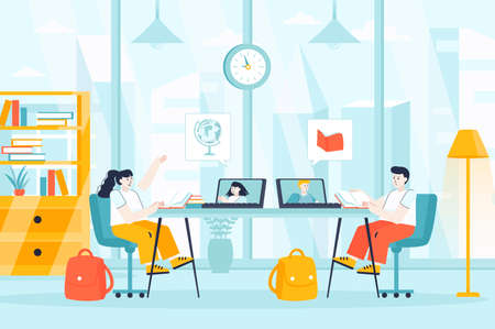 Distance learning concept in flat design. Children studying online from home scene. Girl and boy watching video course lessons with teacher. Vector illustration of people characters for landing page
