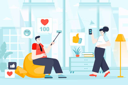 Social network concept in flat design. Man and woman use social networks scene. Content creation, digital marketing, post, likes, follow. Vector illustration of people characters for landing page Ilustração