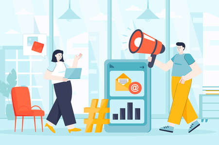 Social media marketing concept in flat design. Colleagues works in office scene. Man and woman create content, promotion, attract clients. Vector illustration of people characters for landing page Ilustração